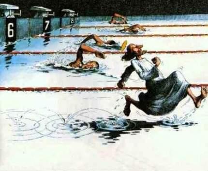 Jezus doet mee aan zwemwedstrijd